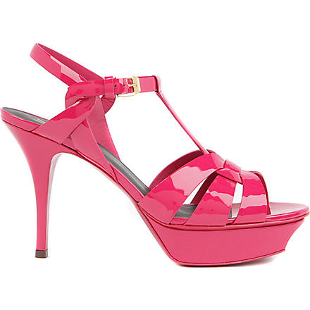 SAINT LAURENT Classic tribute sandals in pink patent leather (Fushia