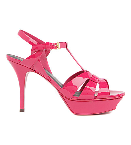 SAINT LAURENT Tribute 75 patent-leather heeled sandals (Fushia