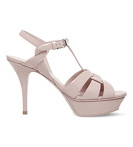 SAINT LAURENT Tribute 75 leather heeled sandals (Pale+pink