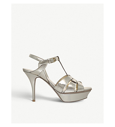 SAINT LAURENT Tribute 75 metallic patent-leather sandals (Gold