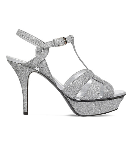 SAINT LAURENT Tribute 75 glitter sandals (Silver