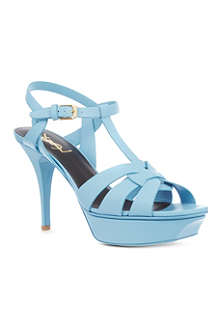 SAINT LAURENT Classic tribute sandal in blue leather