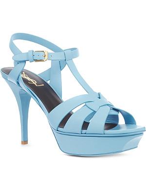 SAINT LAURENT Classic tribute sandal in blue leather