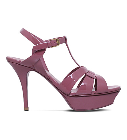 SAINT LAURENT Tribute 75 leather heeled sandals (Pink