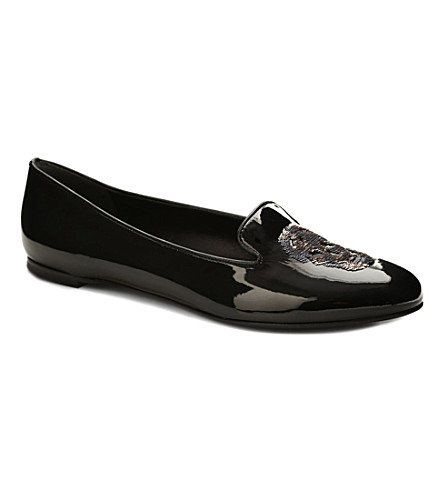 ALEXANDER MCQUEEN Button patent leather slippers (Black