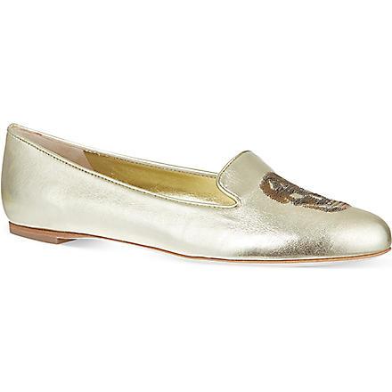 ALEXANDER MCQUEEN Button slippers (Gold