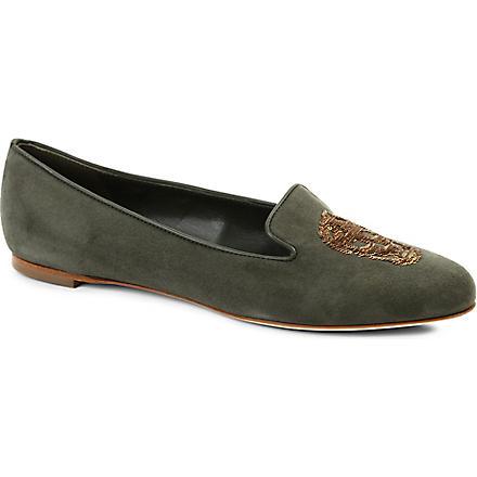ALEXANDER MCQUEEN Button suede slippers (Khaki