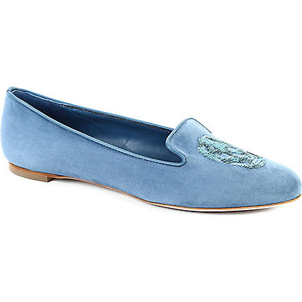 ALEXANDER MCQUEEN Button suede slippers (Blue