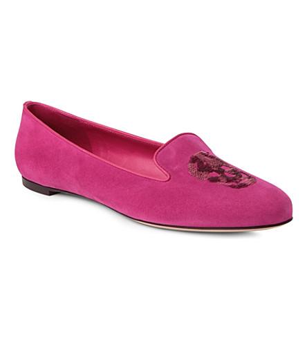 ALEXANDER MCQUEEN Button suede slippers (Pink
