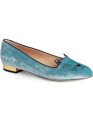 CHARLOTTE OLYMPIA Kitty velvet slippers