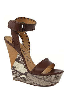 LANVIN Danger leather wedge sandals