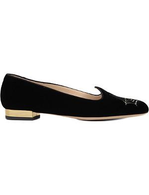CHARLOTTE OLYMPIA Charlotte's Web velvet slippers