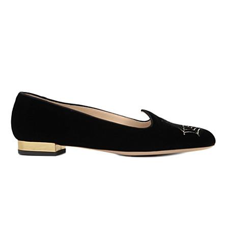CHARLOTTE OLYMPIA Charlotte's Web velvet slippers (Blk/other