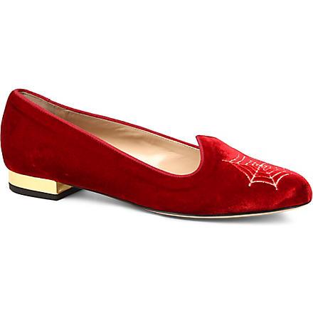 CHARLOTTE OLYMPIA Charlotte's Web velvet slippers (Red/other