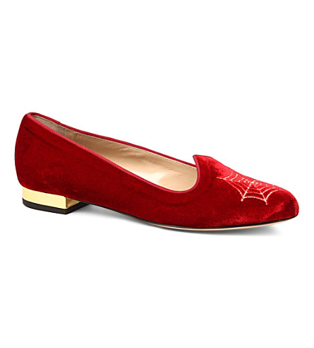 CHARLOTTE OLYMPIA Charlotte's Web velvet slippers (Red/other