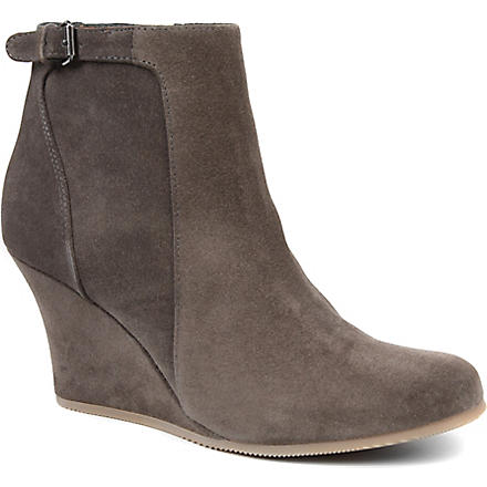 LANVIN Abu Ank suede wedge boots (Grey