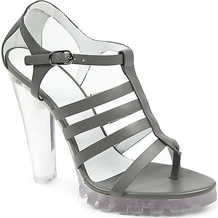 CHRISTOPHER KANE Perspex heel leather sandals (Grey