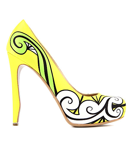 NICHOLAS KIRKWOOD Trickster printed leather courts (Yellow