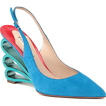 NICHOLAS KIRKWOOD Beatrice suede wedge courts (Mid blue