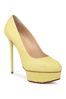 CHARLOTTE OLYMPIA Josephine snake-embossed court shoes