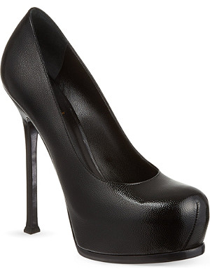 SAINT LAURENT Classic tribute pumps in textured black leather