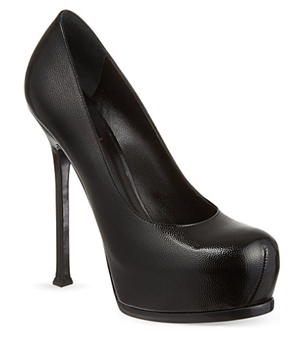 SAINT LAURENT Classic tribute pumps in textured black leather (Black