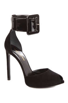SAINT LAURENT Paris suede and patent peep-toe sandals