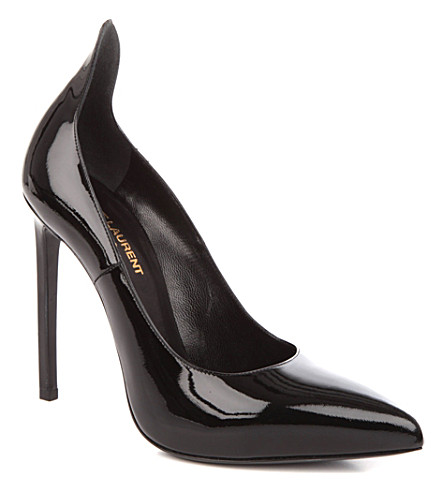 SAINT LAURENT Paris patent-leather court shoes (Black