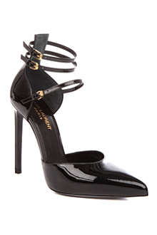 SAINT LAURENT Paris three-strap patent-leather sandals