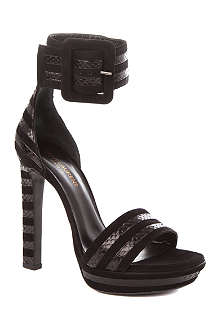SAINT LAURENT Paloma suede and snakeskin sandals
