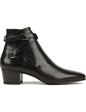 SAINT LAURENT Signature jodhpur ankle boots in black leather