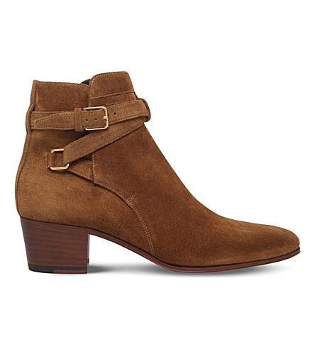 SAINT LAURENT Blake suede jodhpur ankle boots (Tan comb