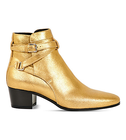 SAINT LAURENT Blake Jodhpur metallic-leather ankle boots (Bronze