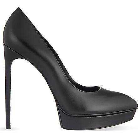 SAINT LAURENT Janis leather court shoes (Black