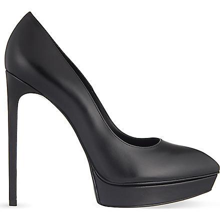 SAINT LAURENT Janis leather court shoes (Black