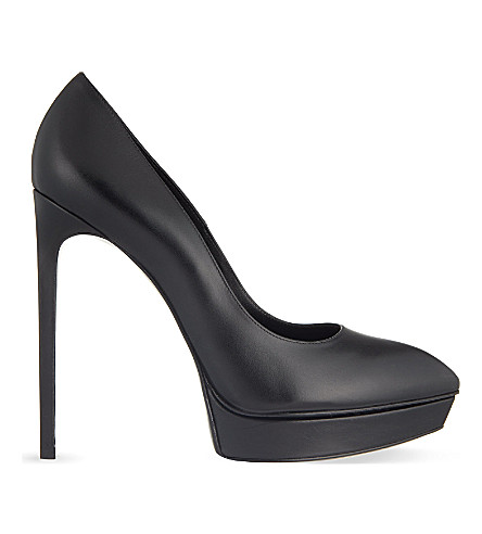 SAINT LAURENT Janis leather courts (Black
