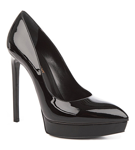 SAINT LAURENT Janis patent leather court shoes (Black