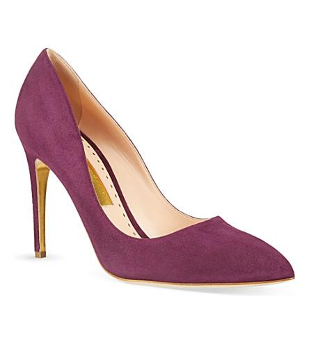 RUPERT SANDERSON Malory high heel suede courts (Purple