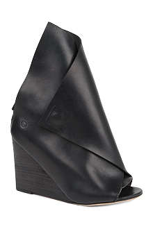 MARSELL Foldover leather wedge boots