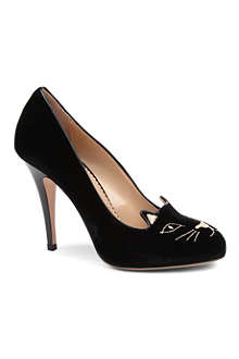 CHARLOTTE OLYMPIA Kitty velvet courts