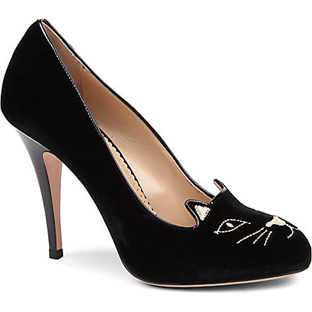 CHARLOTTE OLYMPIA Kitty velvet courts (Blk/other