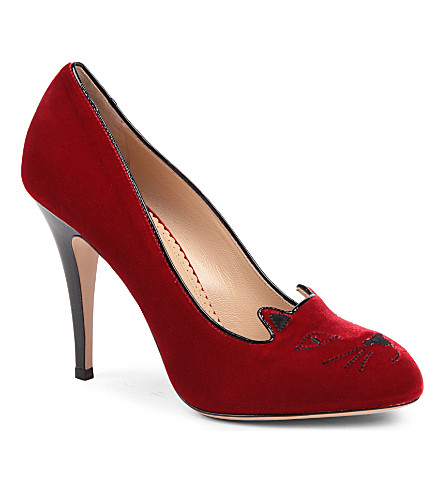 CHARLOTTE OLYMPIA Kitty velvet courts (Red/other