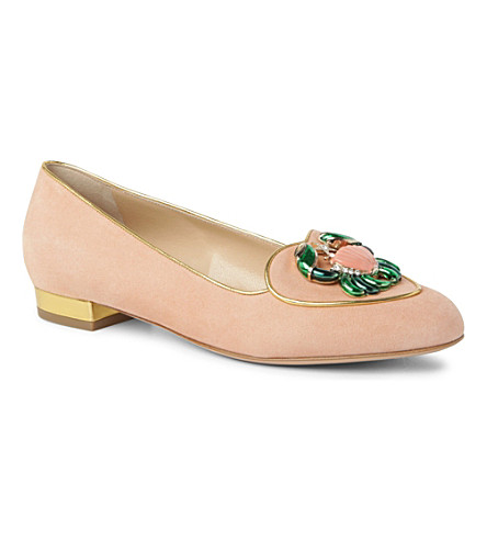 CHARLOTTE OLYMPIA Cancer Birthday suede loafers (Nude