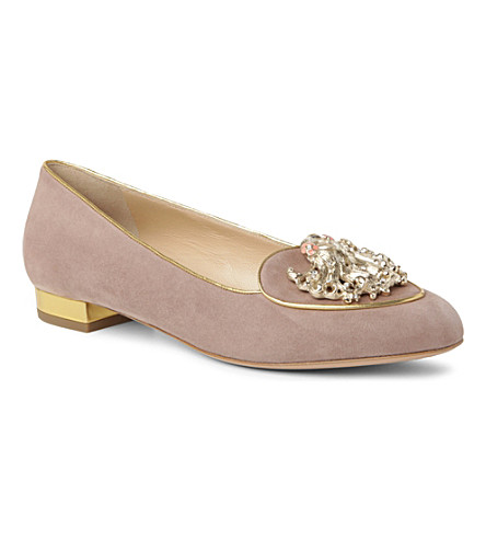 CHARLOTTE OLYMPIA Virgo Birthday suede loafers (Taupe