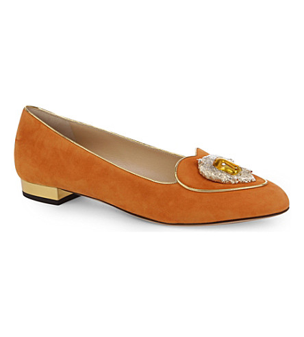 CHARLOTTE OLYMPIA Leo Birthday suede loafers (Orange