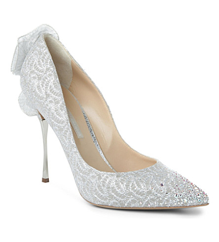 NICHOLAS KIRKWOOD Glinda suede lace-detailed courts (Champagne