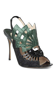 NICHOLAS KIRKWOOD Evanora snakeskin lace-detailed sandals