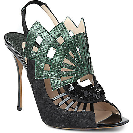 NICHOLAS KIRKWOOD Evanora snakeskin lace-detailed sandals (Green