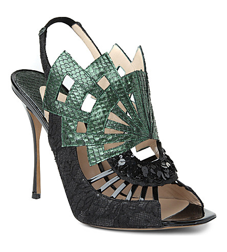 NICHOLAS KIRKWOOD Evanora snakeskin lace-detailed sandals (Green