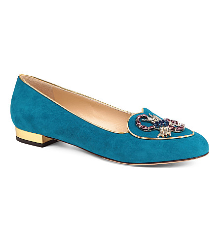 CHARLOTTE OLYMPIA Scorpio Birthday suede loafers (Blue